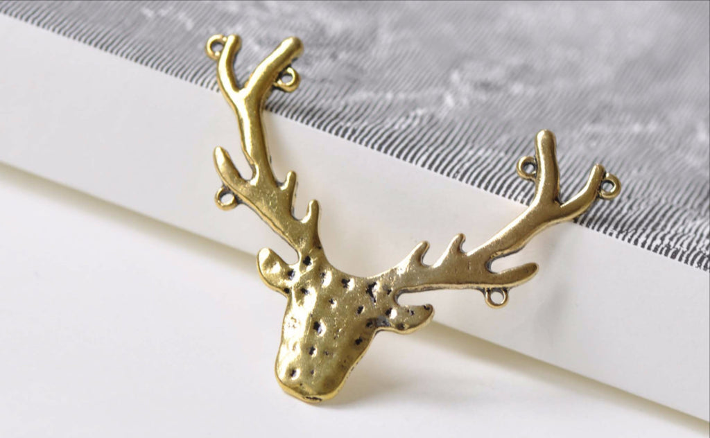 Supplies - Antique Gold Antler Deer Head Horn Charms Pendants Connector