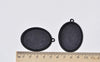 Black Pendant Tray Blanks Base Settings 30x40mm Cabochon Set of 10 A8393