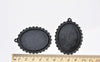 Vintage Black Pendant Tray Blanks Bezel Setting 30x40mm Cabochon Set of 10 A8394