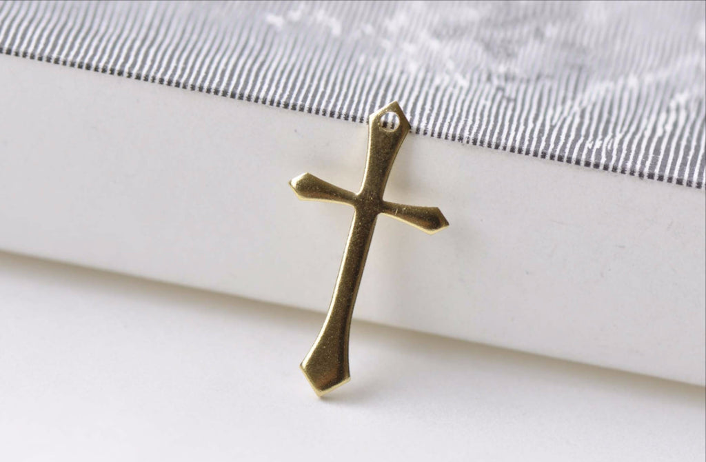 20 pcs Raw Brass Cross Charms Embellishments 13x24mm A8561