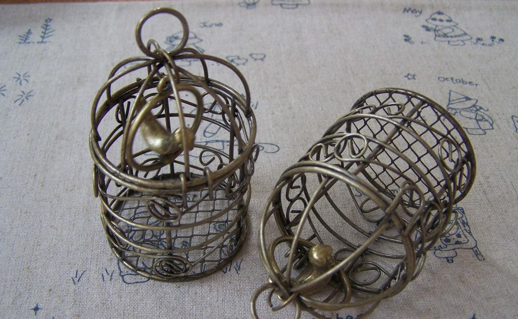 People, Profession & Hobby - 1 pc Antique Bronze Bird Cage Pendant with Bird Inside A3377