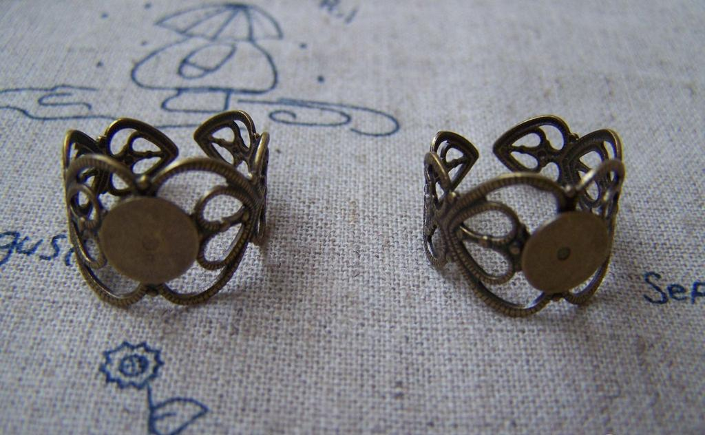 Ring Blanks - 10 pcs Antique Brass Adjustable Flower Ring Bases 8mm Pad A2444