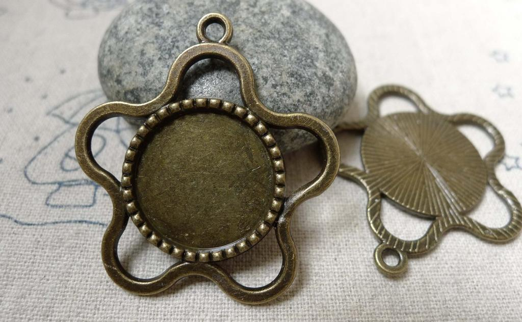 Accessories - 10 Pcs Antique Bronze Plum Flower Shaped Round Cameo Base Settings Match 18mm Cabochon A5888