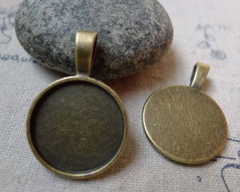 10 pcs of Antique Bronze Round Cameo Base Settings Match 20mm Cabochon A3524