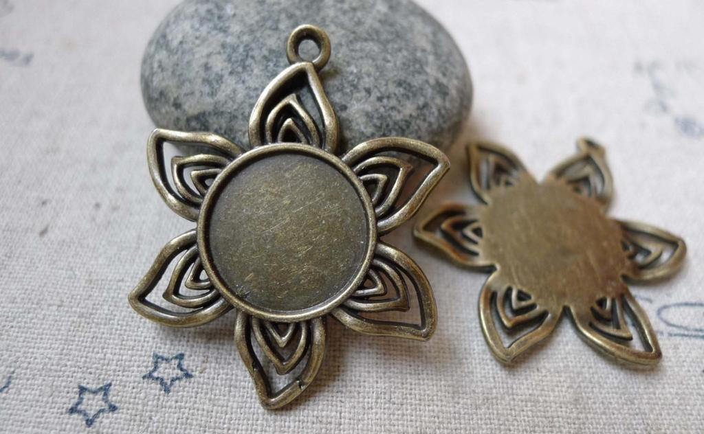 Accessories - 10 Pcs Antique Bronze Sunflower Base Settings Pendant Match 16mm Cabochon  A6081