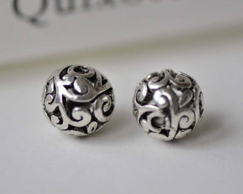 Accessories - 10 Pcs Antique Silver 3D Filigree Flower Ball Beads 8mm A6400
