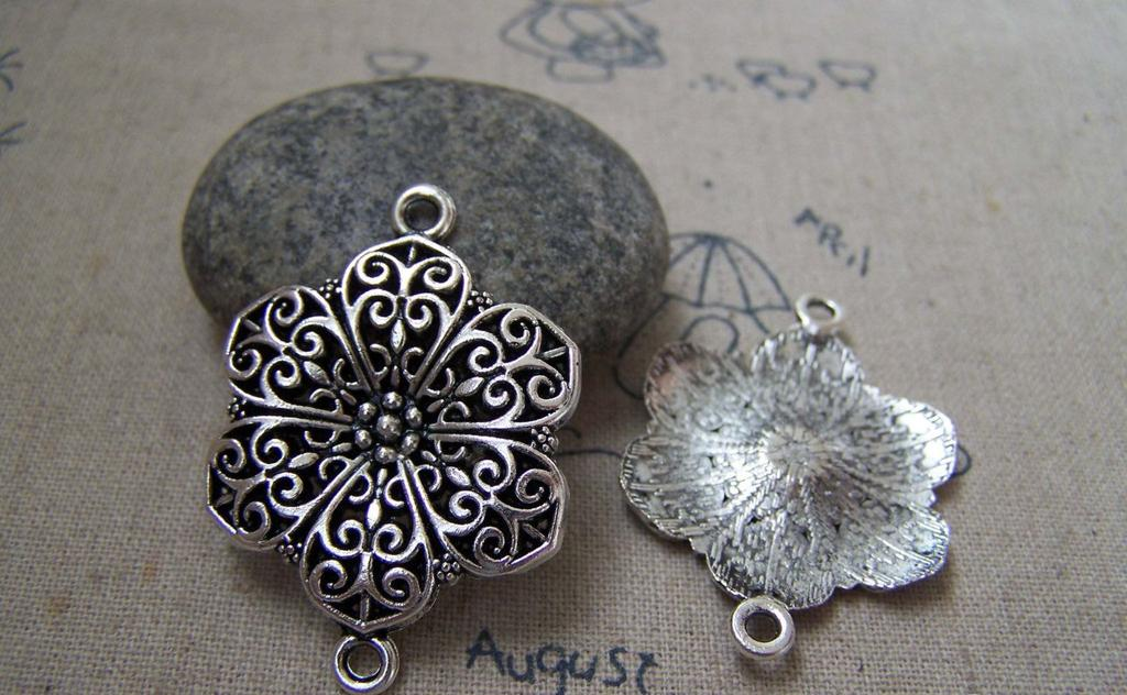 Accessories - 10 Pcs Antique Silver Filigree Flower Connector Pendants 28x40mm A5219