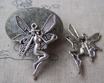 Accessories - 10 Pcs Antique Silver Naked Fairy Charms Size 29x43mm  A1966