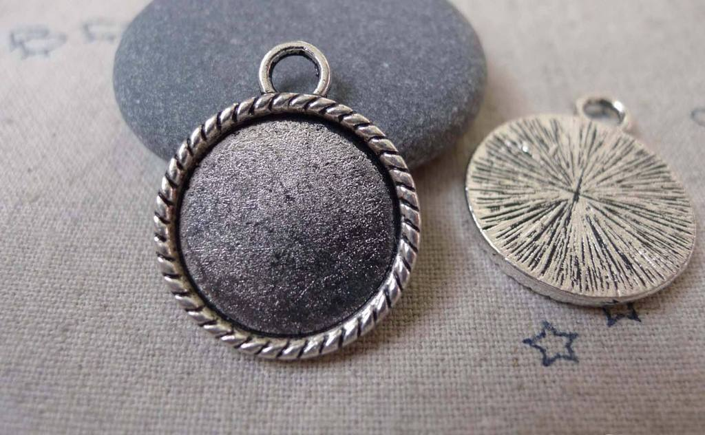 Accessories - 10 Pcs Antique Silver Round Base Settings Match 19mm Cabochon A7354