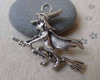 Accessories - 10 Pcs Antique Silver Wicked Witch Broom Charms 35x38mm  A7317