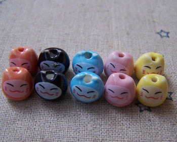 Accessories - 10 Pcs Ceramic  Fortune Cats Kitten Pottery Beads  8x9mm Mixed Color A5059
