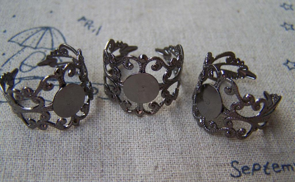 Accessories - 10 Pcs Gunmetal Black Brass Adjustable Filigree Flower Ring Bases With 8mm Pad A1823