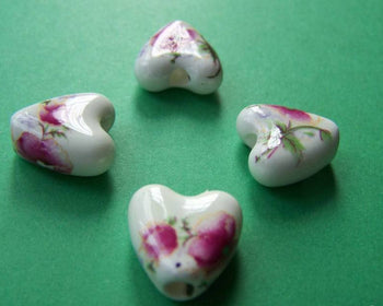 Accessories - 10 Pcs Hand Painted Heart Shaped Rondelle Ceramic Beads Huge Size15mm A1884