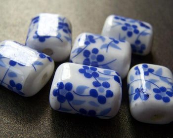 Accessories - 10 Pcs Hand Painted Rondelle Rectangular Blue Flower Oval Ceramic Beads 15x18mm A1860