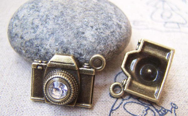 Accessories - 10 Pcs Of Antique Bronze 3D Rhinestone Camera Charms 15x18mm A3081