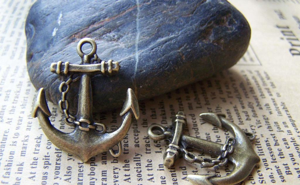 Accessories - 10 Pcs Of Antique Bronze Anchor Charms Pendants 27x31mm A1271