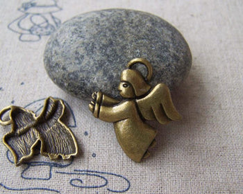 Accessories - 10 Pcs Of Antique Bronze Angel Cupid Charms 23x23mm A5084