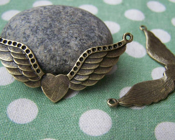 Fairy, Wings & Feathers - 10 pcs Antique Bronze Angel Heart Wing Connectors Charms A1513
