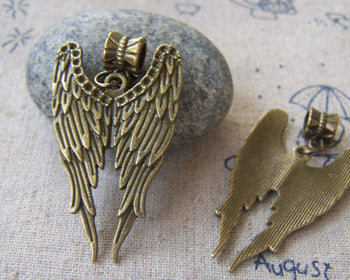 Accessories - 10 Pcs Of Antique Bronze Angel Wings Charms Pendants 39mm A2358