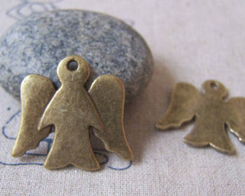 Accessories - 10 Pcs Of Antique Bronze Blank Angel Charms 26x28mm A4317