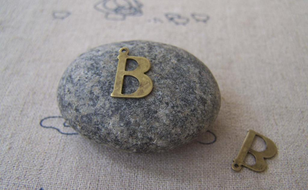 Accessories - 10 Pcs Of Antique Bronze Brass Alphabet Letter B Charms 9x15mm A2407