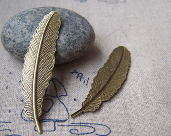 Accessories - 10 Pcs Of Antique Bronze Brass Feather Cabochon 12x53mm A421