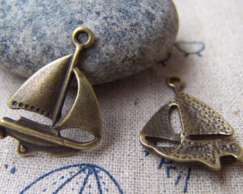 Accessories - 10 Pcs Of Antique Bronze Catamaran Sailing Boat Charms 18x23mm A949