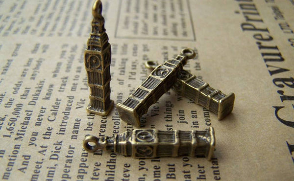 Accessories - 10 Pcs Of Antique Bronze Clock Tower Charms 4x25mm A1637