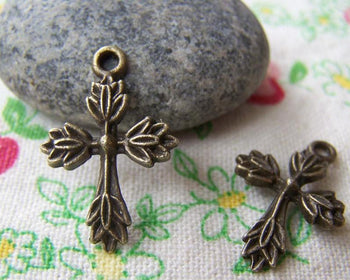 Accessories - 10 Pcs Of Antique Bronze Cross Charms 17x26mm A3917