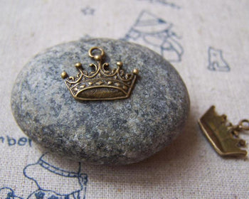 Accessories - 10 Pcs Of Antique Bronze Crown Charms 14x16mm A5013