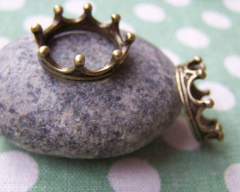 Accessories - 10 Pcs Of Antique Bronze Crown Ring Charms 6x17mm A1450