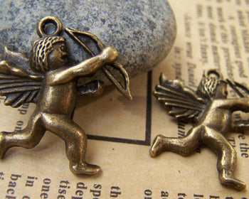 Accessories - 10 Pcs Of Antique Bronze Cupid Charms Pendants 26x26mm A715
