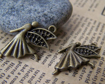 Accessories - 10 Pcs Of Antique Bronze Dancing Angel Fairy Charms Small Size 18x26mm A683