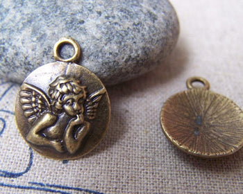 Accessories - 10 Pcs Of Antique Bronze Embossed Angel Round Charms 15mm A725