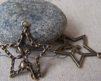 Accessories - 10 Pcs Of Antique Bronze Fairy Angel Star Charms 25x28mm A4556