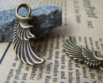 Accessories - 10 Pcs Of Antique Bronze Feather Wing Charms Pendants 10x32mm A3233