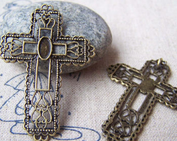 Accessories - 10 Pcs Of Antique Bronze Filigree Cross Pendants Charms 32x45mm A310
