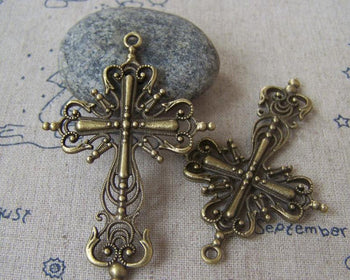Accessories - 10 Pcs Of Antique Bronze Filigree Cross Pendants Charms 42x63mm A4518
