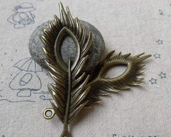 Accessories - 10 Pcs Of Antique Bronze Filigree Peacock Feather Pendants Charms  27x70mm  A6640