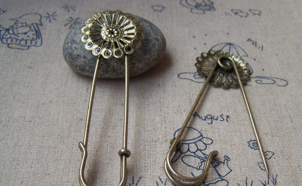 Accessories - 10 Pcs Of Antique Bronze Filigree Round Flower Safety Pin Brooch Findings 15x57mm A1927
