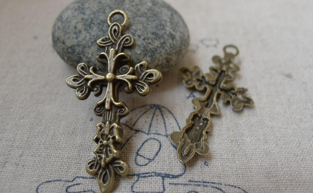 10 Cross Charms Antique Silver Tone 2 Sided SC5064