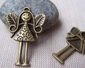 Accessories - 10 Pcs Of Antique Bronze Girl Fairy Charms Pendants 24x35mm A3444