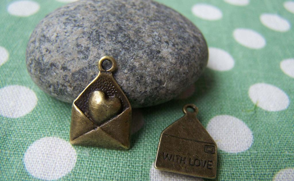 Accessories - 10 Pcs Of Antique Bronze Heart Mail Envelope Charms  12x18mm A521