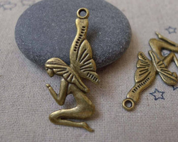 Accessories - 10 Pcs Of Antique Bronze Huge Fairy Pendants Charms 16x35mm A7468