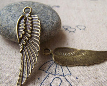 Accessories - 10 Pcs Of Antique Bronze Huge Feather Wing Charms Pendants 14x45mm A3240