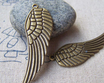 Accessories - 10 Pcs Of Antique Bronze Huge Feather Wing Charms Pendants 16x48mm A2827