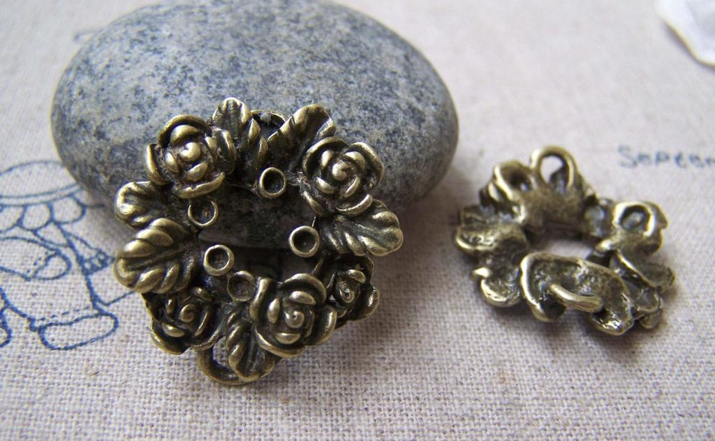 Accessories - 10 Pcs Of Antique Bronze Huge Round Flower Ring Charms 25mm A2939