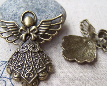 Accessories - 10 Pcs Of Antique Bronze Lovely Angel Charms Pendants 24x38mm A1595