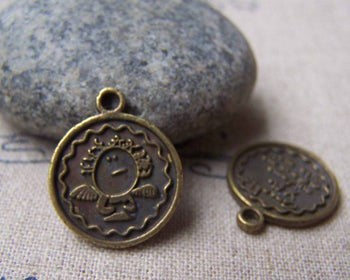 Accessories - 10 Pcs Of Antique Bronze Lovely Angel Round Charms 16mm A555