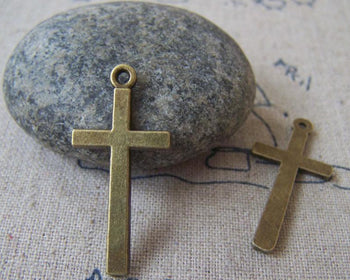 Accessories - 10 Pcs Of Antique Bronze Lovely Cross Charms 14x30mm A1352